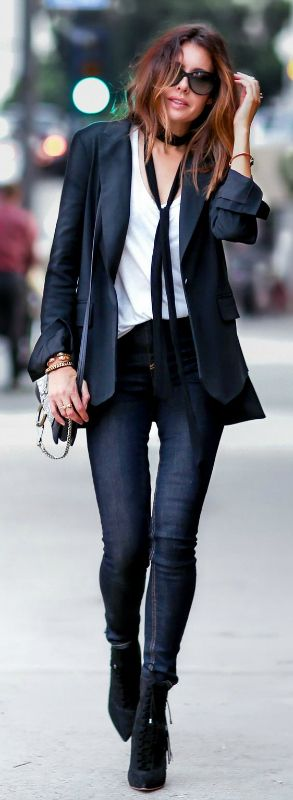 Erica Hoida goes total tomboy with this black blazer, white shirt, and skinny black tie combination. Blazer: Marissa Webb, Shirt: The Row, Jeans: Rag & Bone, Scarf: Chloe.