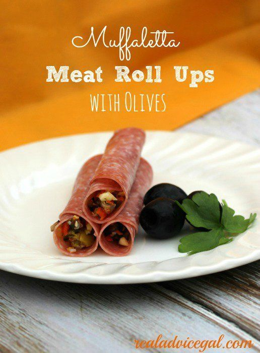 A simple but very delicious appetizer, Muffaletta meat rollups using Olives salad #OlivesfromSpain #ad
