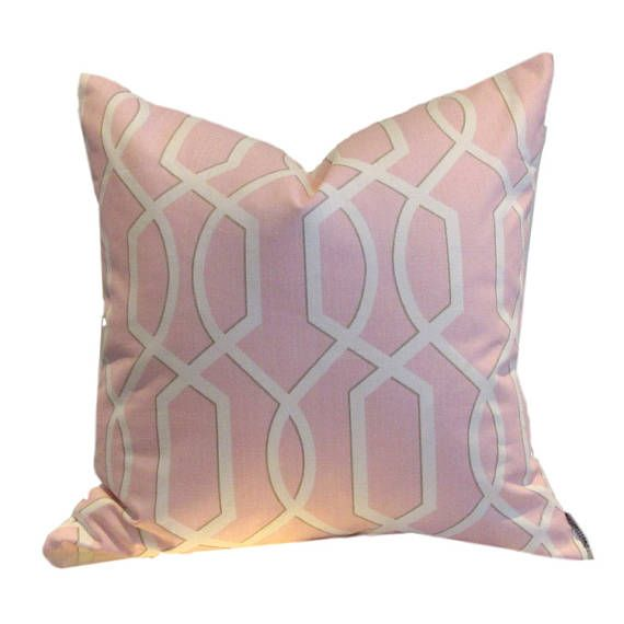 Pink/Blush Lattice from UK fabric house. 70% cotton Reverse is sewn in co-ordinating white linen SEWN BY US IN CANADA PILLOW COVER ONLY zippered closure All interior seams are reinforced dry cleaning recommended Co-ordinates with Hoot Order filler separately - either down/feather or synthetic down or mildew resistant polyfil We suggest 22 feather/down or synthetic down fillers or 20 polyfill inserts for our 20 covers. Due to the custom nature of your order, returns and ca...