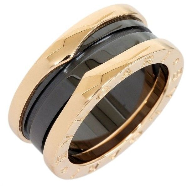 preowned bvlgari bvlgari black ceramic u0026 18k pink gold 3band ring