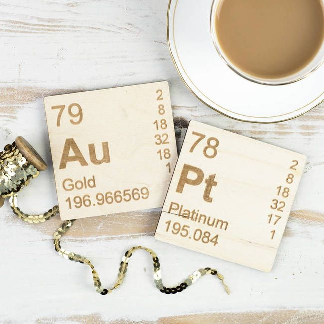 These gold and platinum chemical element wooden coasters are a unique addition to the coffee table. Periodic table inspired to add a point of interest at home. Beautiful, square coasters inscribed with chemical elements for gold and platinum. A wonderful gift.
