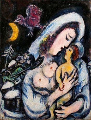 Motherhood - by Marc Chagall (1887 – 1985), Belarussian/Russian/French