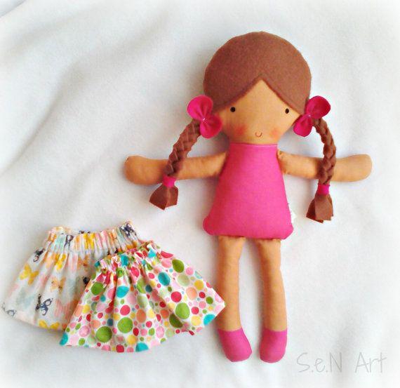 Soft Doll with Two Skirts Set Rag Doll Softie Cloth by SenArt1