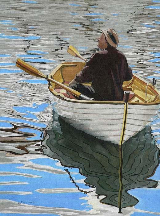 Guy in row boat painting