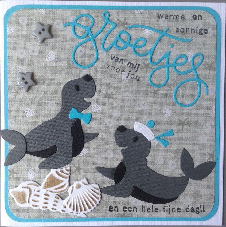 """""""Warme en zonnige groetjes van mij voor jou en een hele fijne dag!!"""" met zeehonden van Marianne Design"""