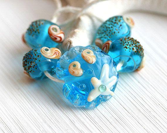 Aqua Blue Handmade Lampwork beads, Beach beads set by MayaHoney. Shells and starfish - so cute!  #forsale #etsy #glass #handmade #homemade #shopping #handcrafted #jewelrymaking #lampwork #mayahoney #beads #beach #shells #seaglass