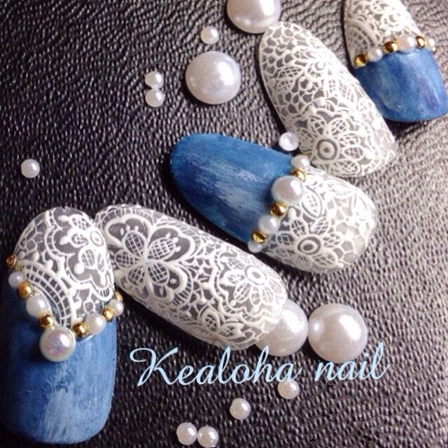Denim Lace Nail Art