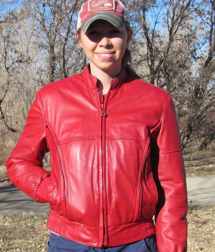 Vintage HEIN GERICKE FIRST GEAR Red Leather Motorcycle Jacket - Women's Medium #HeinGericke