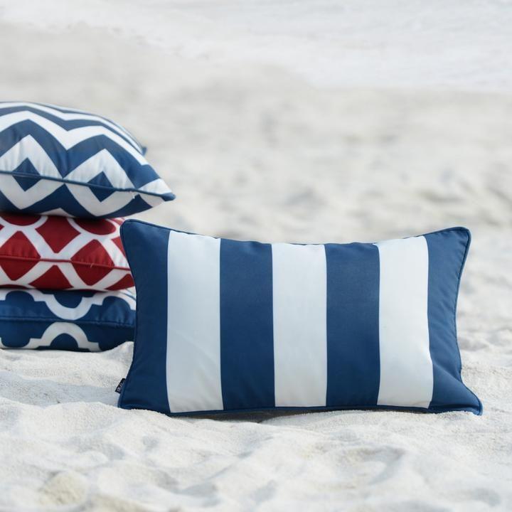 Navy Blue Outdoor Lumbar Pillow Cover Stripes 12 X20 In 2020 Lumbar Pillow Cover Blue Throw Pillow Cover Blue Geometric Pillow