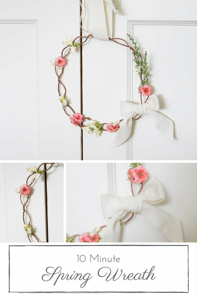 10 Minute Decorating: Floral Crown Inspired Spring Wreath