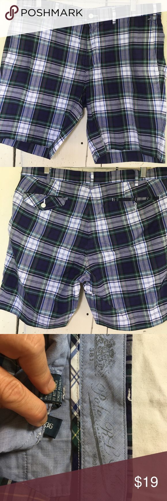 "Polo Ralph Lauren blue plaid men's shorts Polo Ralph Lauren blue plaid men's shorts size 36"" length 19"". EUC Polo by Ralph Lauren Shorts Flat Front"