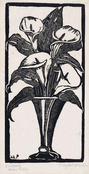 Margaret Preston - Arum lilies (linocut)
