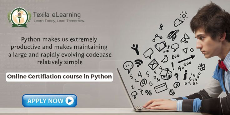 Excel in basic, advance concepts of Python like writing python scripts, sequence and file operations in python. http://www.texilaedu.org/product/certification-python/