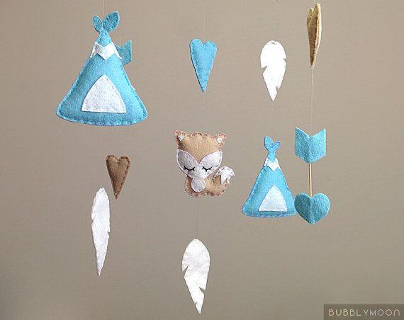 Fox Baby Mobile, Modern Nursery Decor, Feathers Baby Nursery Mobile, Tribal Arrows Baby Mobile- Cot/ Crib Mobile - Blue Nursery Decor