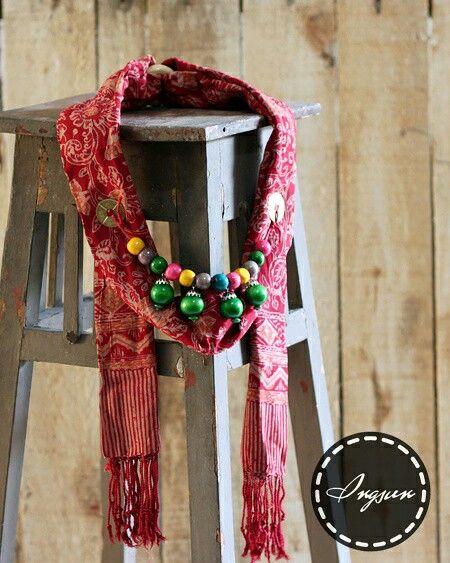 Rote shawl necklace - stamped batik parish shawl  Price : idr 90k  WA +6285229848246 LINE @ingsun [pakai @ yaa..] BB pin 7ce3de2a  #batik #batikindonesia #indonesia #jumatbatik #kebaya #tenun #kartini #bajuetnik #kalungetnik #asesorisetnik #kalungbatik #ethnicnecklace #ootd #photographysouls #ethniclook #vintage #antique #ethnicscarf #ethnicshawl #batikscarf #batikshawl #handmade #localbrand