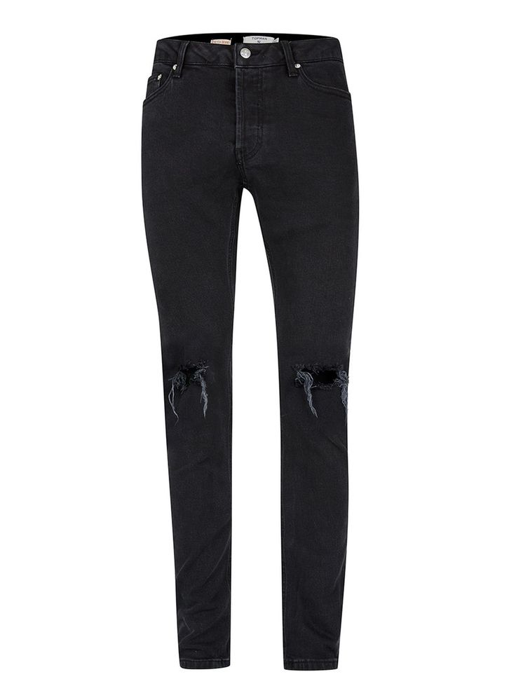 Washed Black Ripped Stretch Skinny Jeans - Men's Jeans - Clothing - TOPMAN USA