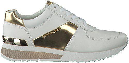 Michael Kors Sneaker Low Allie Trainer Optic White Gold Leder Sport Mirror Metallic 40 - http://on-line-kaufen.de/michael-kors/40-eu-michael-kors-allie-trainer-sneaker