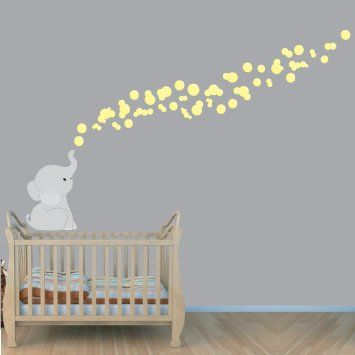 Amazon.com : Yellow and Grey Elephant Stickers, Elephant Bubbles ...