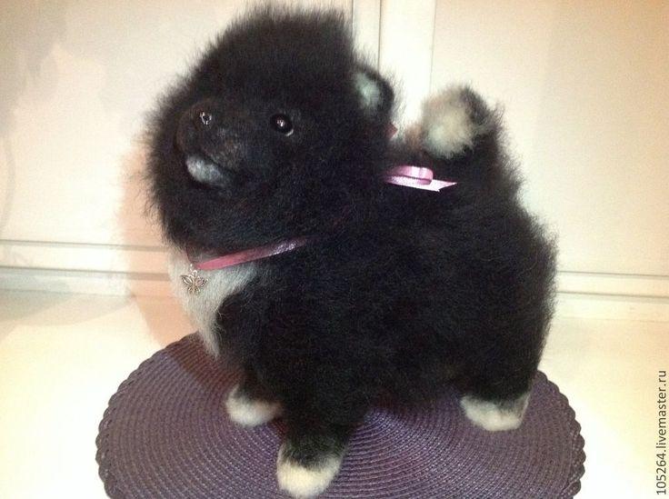 Купить Щенок шпица - чёрно-белый, шпиц, собака, щенок, авторская работа, ручная работа