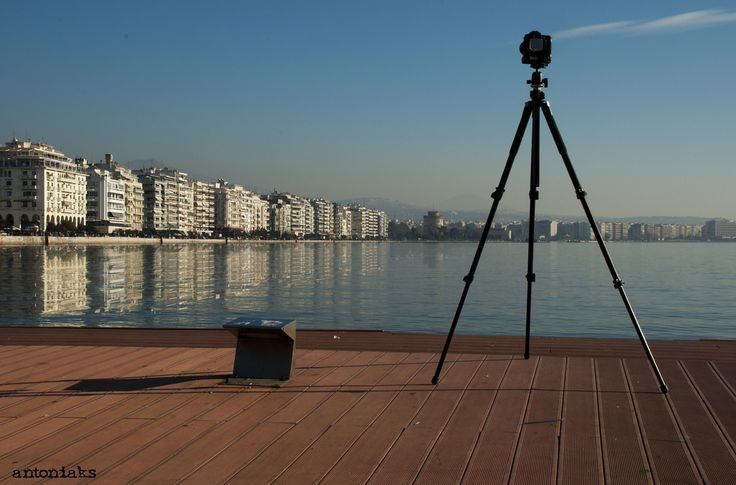 a summer day in the middle of December, Thessaloniki waterfront, view from the dock