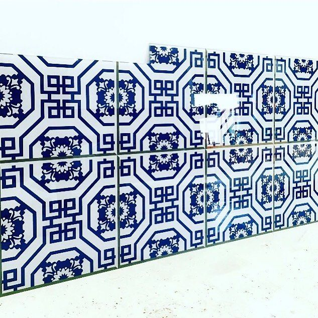 Oriental tiles glass printing kitchen splashback