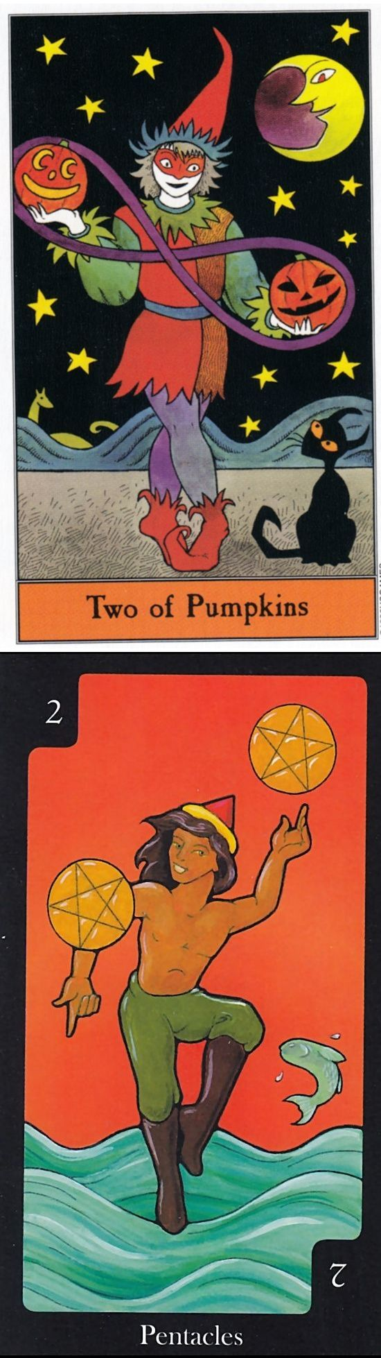 Two of Pentacles: adapting to quick change and overwhelmed (reverse). Halloween Tarot deck and Hallmark Tarot deck: tarottalismans, free latin tarot reading vs where to find tarot cards. Best 2017 lenormand cards decks and ritual. #empress #witch #wicca #intuition