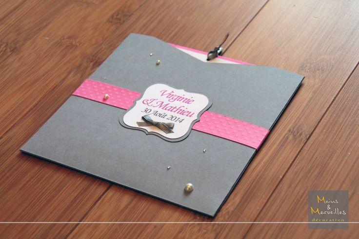 Préférence Faire-part mariage pochette carrée - Gris, fushia, blanc et rose  CX64