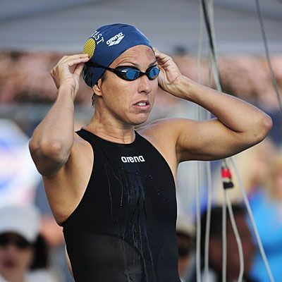 """""""When I started swimming again two years ago, it felt like I was starting from scratch. My mind-set was [to tell myself that] every time I swam, it was going to get easier—and it did. When you're working toward a fitness goal, you just need to start. It's not going to be pretty, your body is going to scream at you, but each time you'll get better.""""—Janet Evans"""