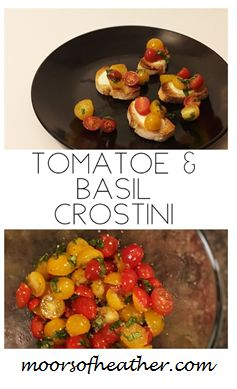 Toasted slices of baguette bread, topped with fresh tomatoes & basil