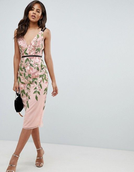 0b929fae19bf DESIGN Tall floral embroidered pencil midi dress in 2019 | ASOS ...