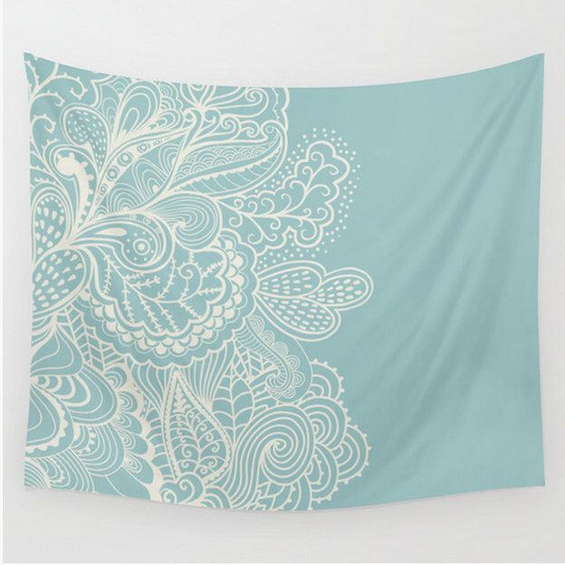 Wall Tapestry Mehndi Design Teal Light Blue Cream Off White  Boho Bohemian Shabby Chic Dorm Room Apartment Home Decor by LoveThatTooMuch on Etsy https://www.etsy.com/listing/242312090/wall-tapestry-mehndi-design-teal-light