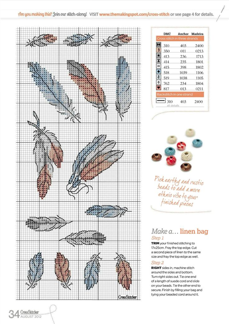 Borduurpatroon Kruissteek Dromenvanger *Embroidery Cross Stitch Pattern Dreamcatcher ~Veren *Feathers~