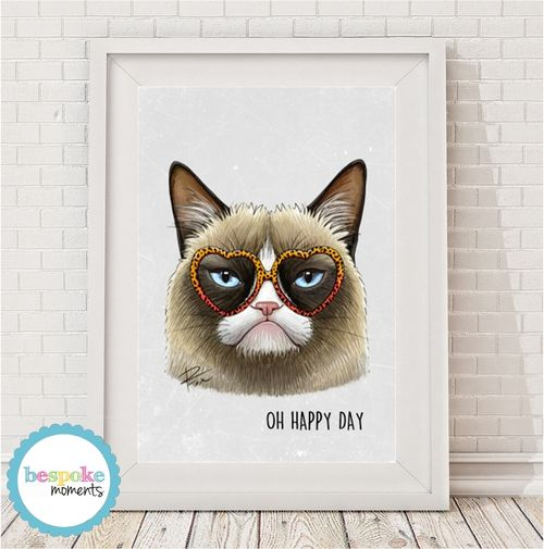 Grumpy Cat Print by Bespoke Moments. Worldwide Shipping  Available.
