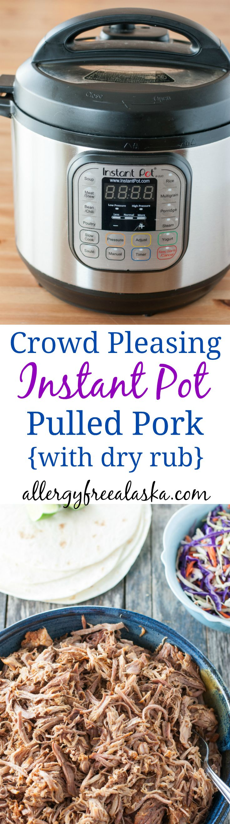 This Crowd Pleasing Instant Pot Pulled Pork with Dry Rub is very flavorful & incredibly juicy. It feeds a lot of people on the cheap (no BBQ sauce needed!).