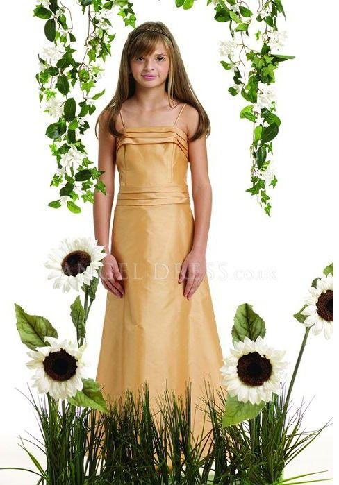 Taffeta Spaghetti Straps A line Natural Waist Sleeveless Floor Length Junior Dress