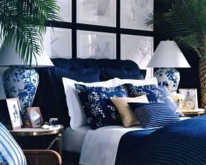 Blue bedroom theme by Ralph Lauren Home-I love bold contrasting blue/white and layered bedding!