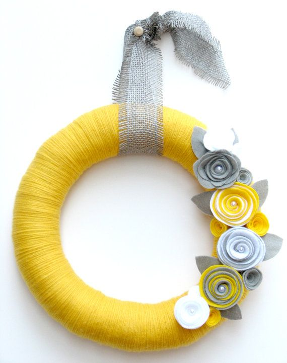 "14"" Yellow yarn wreath with gray and white felt flowers - The Stephanie on Etsy, $42.00"