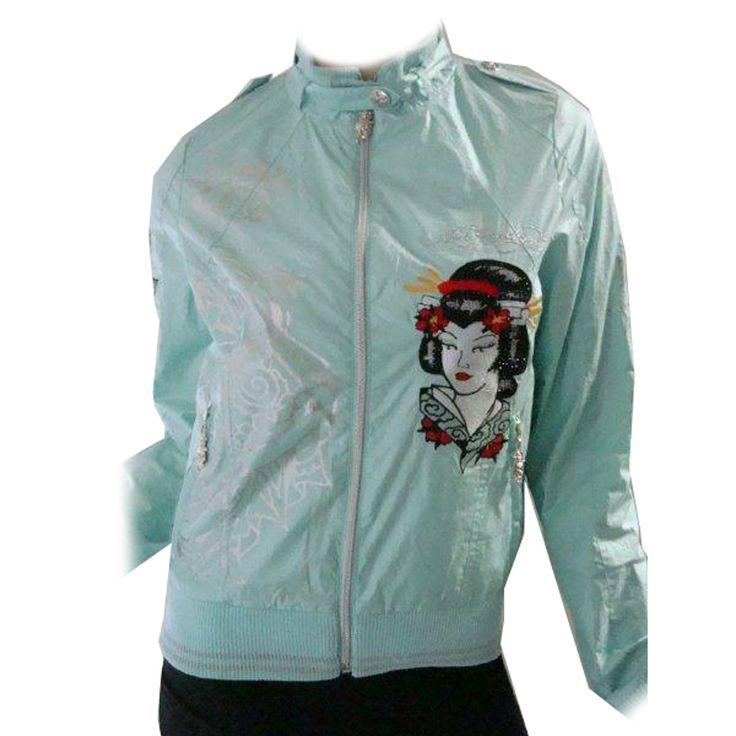 Ed Hardy Women's Geisha and Roses Rhinestone Windbreaker Jacket – Sky Blue
