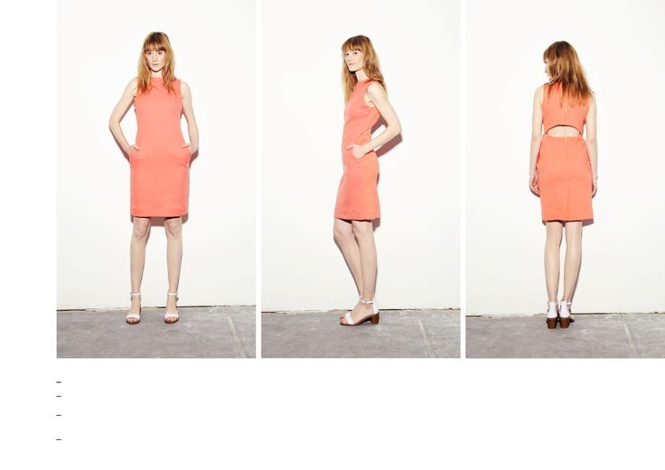 Coral-peach open back dress with zip fastening