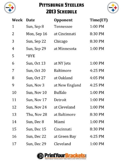 Printable Pittsburgh Steelers Schedule - 2013 Football Season