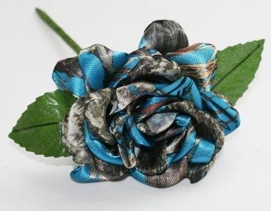 Blue Camouflage Rose - Camo Bridal Bouquet - Camo Rose - Satin Camo Rose - Camo Wedding