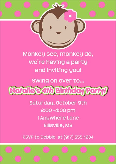 Mod Monkey Girl Birthday Party Invitations-monkey,mod,girl,birthday,personalized,party,invitations,invitation,girl monkey birthday party invitations