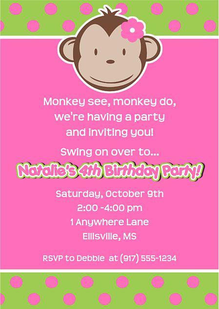 Mod Monkey Girl Birthday Party Invitations-monkey,mod,girl,birthday,personalized,party,invitations,invitation,girl monkey birthday party invitations