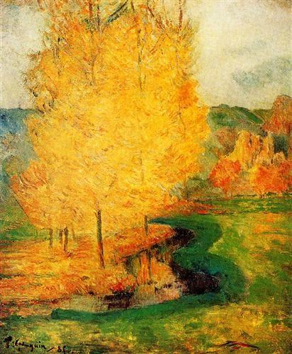У ручья, осень - Поль Гоген