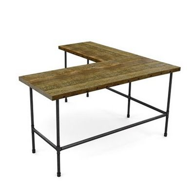 Industrial style L-shaped wood desk for your office or living space made with old growth wood.  Modern office furniture configured and custom made by hand for your home office or business.