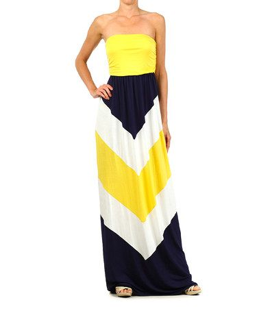 Love this Yellow  Navy Blue Chevron Strapless Maxi Dress on #zulily! #zulilyfinds