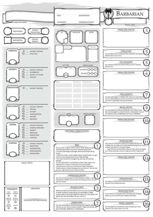barbarian character sheet class character sheets in  | character sheet, dnd