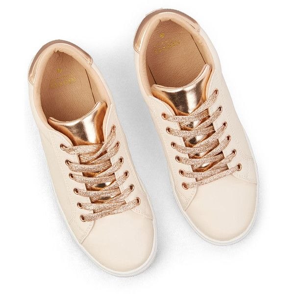 NUDE AND METALLIC TRAINER ($37) ❤ liked on Polyvore featuring shoes, sneakers, metallic sneakers, nude sneakers, nude footwear, metallic shoes and sparkly sneakers
