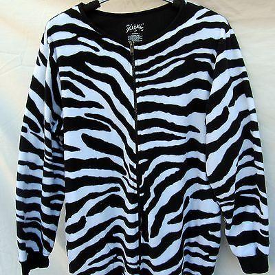 Nick and Nora One Piece Sleeper Pajamas With Feet Medium Zebra Striped Face