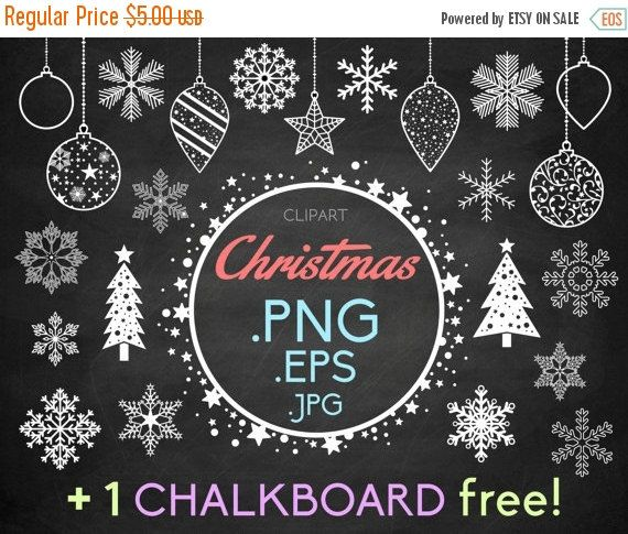 "80% off Entire Store Snowflakes clipart Christmas  1 FREE chalkboard: Christmas ice decorations balls trees and a starry frame snow flake P by DesignLitter  1.00 USD  ""Christmas"" clipart  Christmas and winter chalkboard scrapbooking elements  1 FREE chalkboard This Christmas collection includes: 14 snowflakes 2 Christmas trees Christmas decorations 7 (including 3 balls 3 drops and 1 star) and a starry frame. The files are .PNG (white on transparent background) .JPG (blacks on white…"